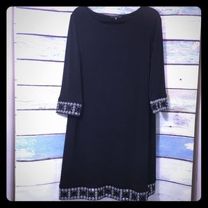 Tiana B Black 3/4Sleeve Beaded Accent Shift Dress